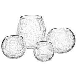 Svícen praskaný čirý, 15x15x12 cm, sklo