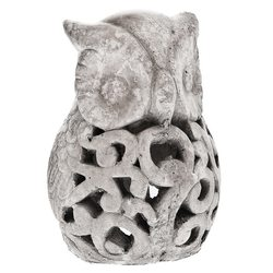 Svícen sova šedá, 14x14x19 cm, keramika jako beton