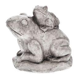 Žába s žabičkou, 13x17x15 cm, beton