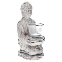 Svícen Buddha, 9x12x21 cm, keramika jako beton