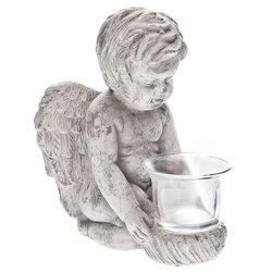 Anděl svícen 12x16x19 cm, keramika jako beton