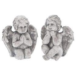 Anděl modlící se tmavý, 12x7x14 cm, keramika jako