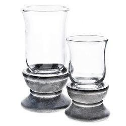 Svícen se sklem na podstavci, 10x10x16 cm, keramik