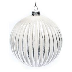 Vánoční ozdoba - Baňka střírnobílá s pruhy, 10 cm