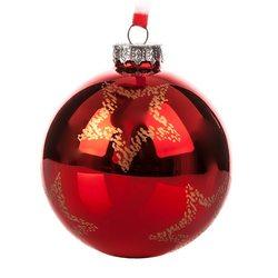 Vánoční ozdoba - Baňka červená lesklá s velkými hv