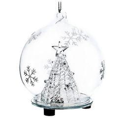 Ozdoba vánoční svítící se stromkem, 8x8x9 cm, sklo