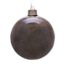 Svítící LED koule skleněná šedá, 8x8x9 cm, sklo