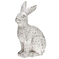 Zajíc sedící, 16x29x51 cm s patinou, keramika