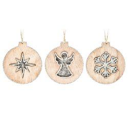 Ozdoba s hvězdou, stříbrná, 10x9x1 cm, dřevo