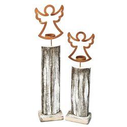 Dřevěný anděl svícen na podstavci, 48, dřevo