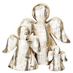 Dřevěný anděl porostlý mechem 14cm