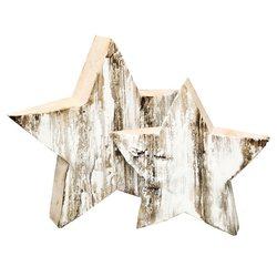 Dřevěná hvězda porostlá mechem 28cm