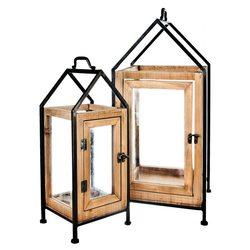 Lucerna Homee L, 27x25x58 cm, kov, dřevo, sklo