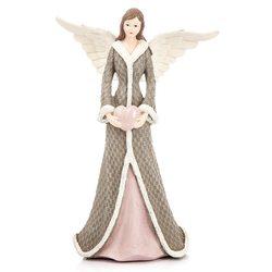 Anděl Roselo, velký šedý, 17x11x26 cm, polyresin
