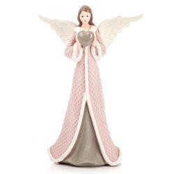 Anděl Roselo, velký růžový, 17x11x26 cm, polyresin