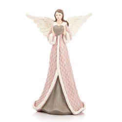 Anděl Roselo, střední růžový, 12x8x19 cm, polyresi