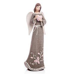Anděl Roselo, střední šedý, 25x9x7 cm, polyresin