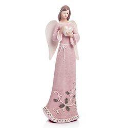 Anděl Roselo, střední růžový, 25x9x7 cm, polyresin