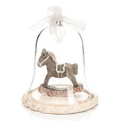 Zvonek Roselo s koníkem, 8x8x9 cm, polyresin