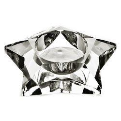 Svícen skleněná hvězda, 9x9x30 cm, sklo