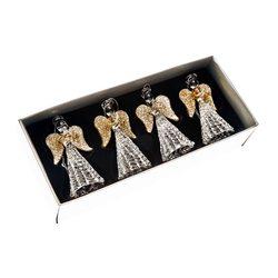 Ozdoba vánoční andělé se zlatými křídly, set 4 ks,