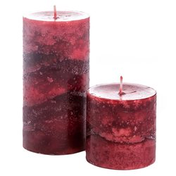 Svíčka válec červený, vůně skořice, 7x7x7 cm, vosk