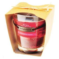 Svíčka ve skle červená, vůně skořice, 9x9x10 cm, v