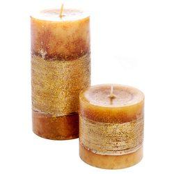 Svíčka válec zlatá, vůně vánoční cukroví, 7x7x14 c