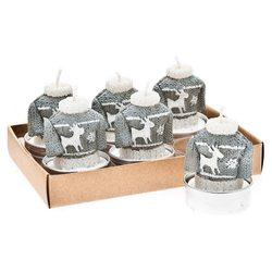 Svíčka čaj. svetr šedo-bílý, 6ks, 3x3x4 cm, vosk