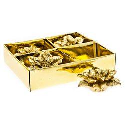 Svíčka vánoční hvězda zlatá 4ks, 7x7x3 cm, vosk