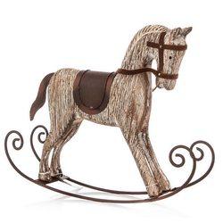 Houpací kůň hnědý, 32x22x6 cm, dřevo, kov