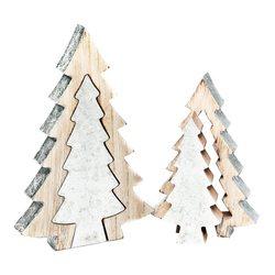 Stromek dvojitý stříbrný, 13x13x19 cm, dřevo