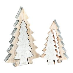Stromek dřevěný dvojitý stříbrný 25 cm
