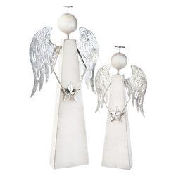 Anděl hranatý se stříbrnými křídly, 8x8x31 cm, dře