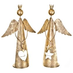 Anděl s korunkou a srdcem, svícen zlatý, 31x20x9 c