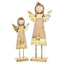 Anděl veselý s hvězdičkou, zlatý, 21x9x4 cm, dřevo