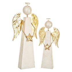 Anděl hranatý se zlatými křídly, 10x10x40 cm, dřev