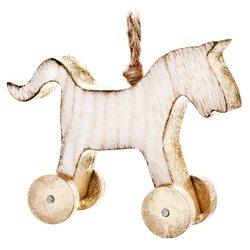 Koník s kolečky závěsný, zlatý, 12x10x3,5 cm, dřev