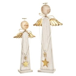 Anděl hranatý s hvězdou, zlatý, 37x17x5 cm, dřevo,