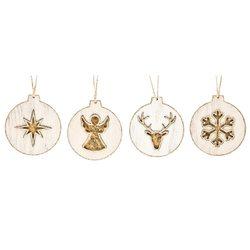 Ozdoba s andělem, zlatá, 10x9x1 cm, dřevo