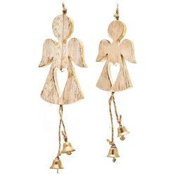 Anděl závěsný se zlatými zvonečky, 20x7x1 cm, dřev