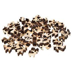 Dekorační jeleni v boxu, 48 ks, přírodní, 2,5x2,5x