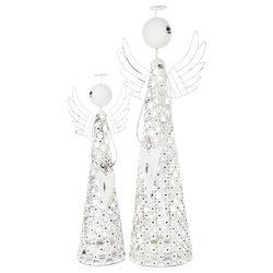 Svícen Anděl síťovaný se srdcem, 7x7x29 cm, kov