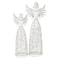 Anděl se srdcem bílý, svícen, 9x14x35 cm, kov