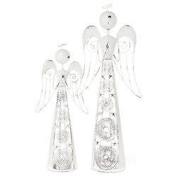 Anděl s ornamenty bílý, svícen, 9x5x42 cm, kov