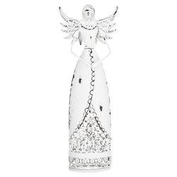 Anděl bílý se zdobenou sukní, svícen, 32x12x5 cm,