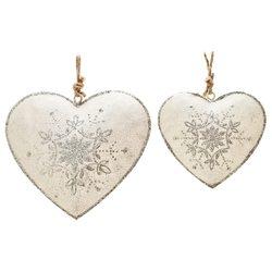 Srdce závěsné s hvězdou krémové, 8x8x1,5 cm, kov