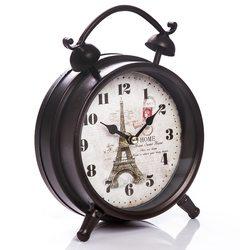 Hodiny jako budík - Paříž, 6x16x21 cm, kov, sklo