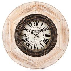 Hodiny kov / dřevo, 7x60x60 cm, kov, sklo