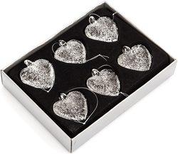 Set 6 ks Ozdoba srdce závěsné čiré